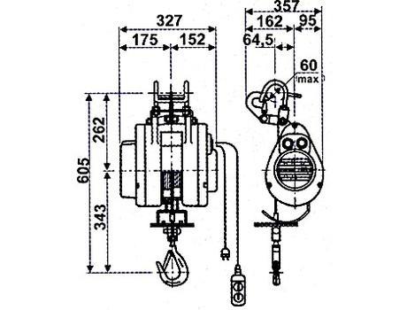 Таль-лебедка строительная стационарная HXS-250F г/п 0,25 т, в/п 20 м