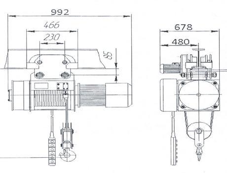 Таль электрическая канатная передвижная ТЭ-200 схема
