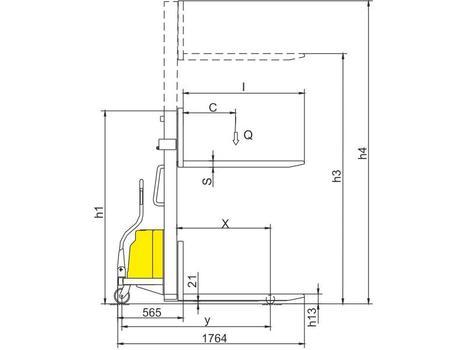 Полуэлектрический штабелер CDD10B-III, г/п 1000 кг, в/п 3500 мм (фиксированные вилы)
