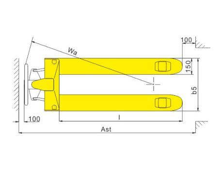 Гидравлическая тележка (рохля ручная) DB, г/п 2т, длина вил 1150 мм