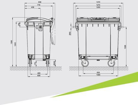 Контейнер для мусора 770 л - габариты
