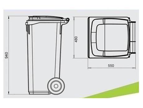 Контейнер для мусора 120 л - габариты