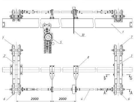 Кран-балка ручная подвесная г/п 1 тонна - схема