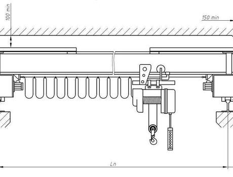 Кран-балка электрическая опорная г/п 1 тонна пролет 16,5 метров - схема