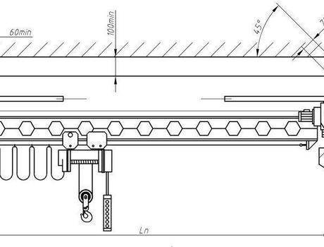 Кран-балка электрическая опорная г/п 1 тонна пролет 22,5 метров - схема