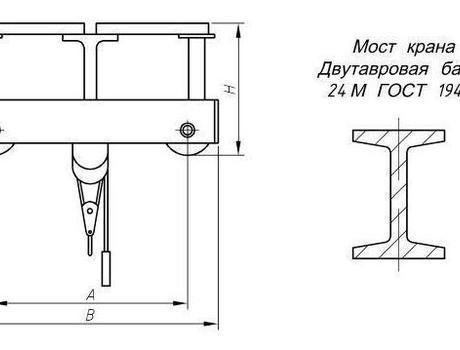 Кран-балка электрическая опорная г/п 1 тонна пролет 4,5; 7,5 метров - схема