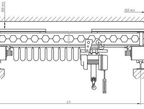 Кран-балка электрическая опорная г/п 2 тонны пролет 10,5 метров - схема