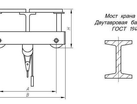 Кран-балка электрическая опорная г/п 3,2 тонны пролет 4,5; 7,5 метров - схема
