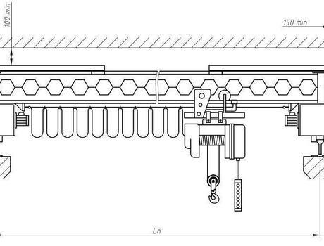 Кран-балка электрическая опорная г/п 5 тонн пролет 10,5 метров - схема