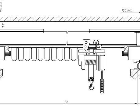 Кран-балка электрическая опорная г/п 5 тонн пролет 4,5; 7,5 метров - схема