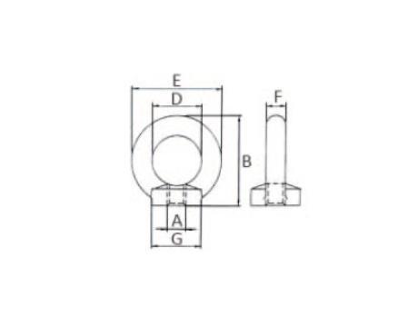 Подъемные рым-гайки для подъема по оси гайки DIN 582 - габаритная схема
