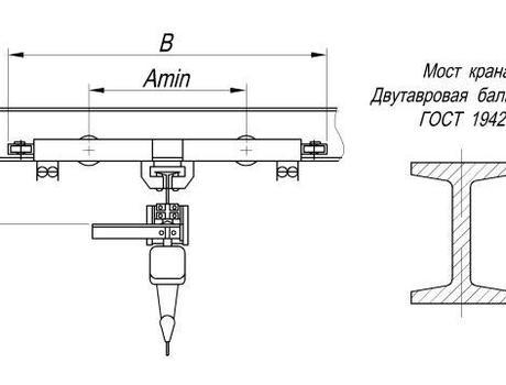 Кран-балка электрическая подвесная г/п 1 тонна - схема