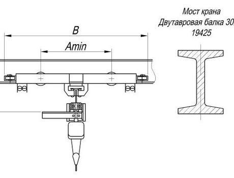 Кран-балка электрическая подвесная г/п 1 т пролет 6 - 9 м - схема