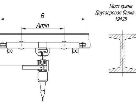 Кран-балка электрическая подвесная г/п 1 тонна пролет 3 - 6 метров - схема