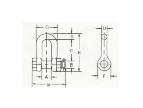 Прямые скобы SAE со шплинтовым замком - габаритная схема