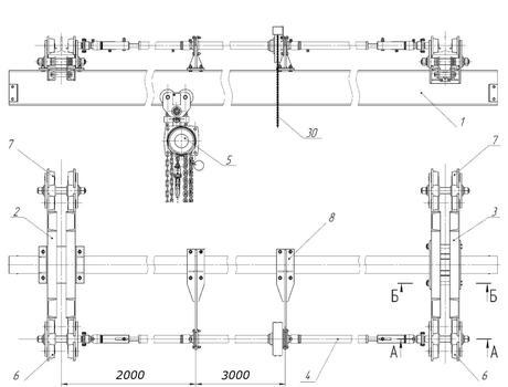 Кран-балка ручная подвесная г/п 8-10 тонн -схема