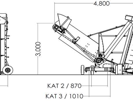 ворошитель компоста TBU 3P - габаритная схема