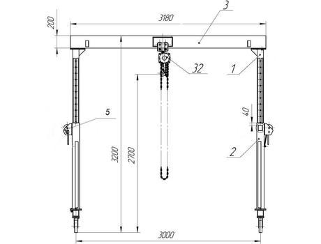 УПМ-1000 с регулируемой высотой подъема г/п характеристики