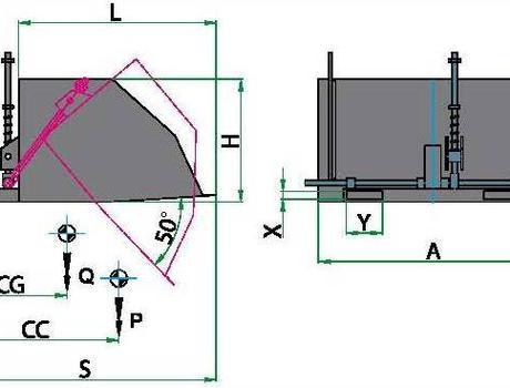 Ковш на вилы погрузчика - габаритная схема