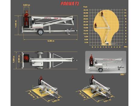 Коленчатый подъемник Parma 12/12T - размеры